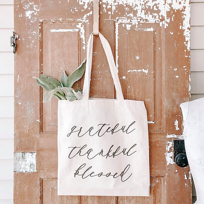 Wholesale Canvas Tote - Grateful Thankful Blessed