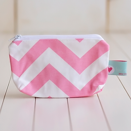 Small Zipper Pouch - Emma Chevron