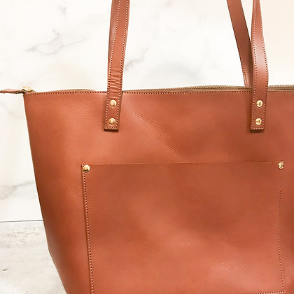 Zippered Cognac or Black Leather | Modern Tote