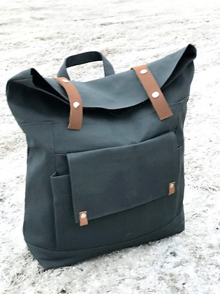 Charcoal Navy Roll Top Backpack