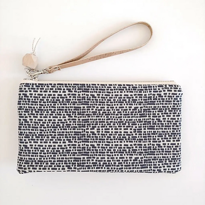 Black Brick & Natural Cork | Mini Wristlet
