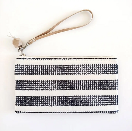 Black Dots & Natural Cork | Mini Wristlet