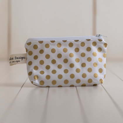 Small Zipper Pouch - Gold Dots