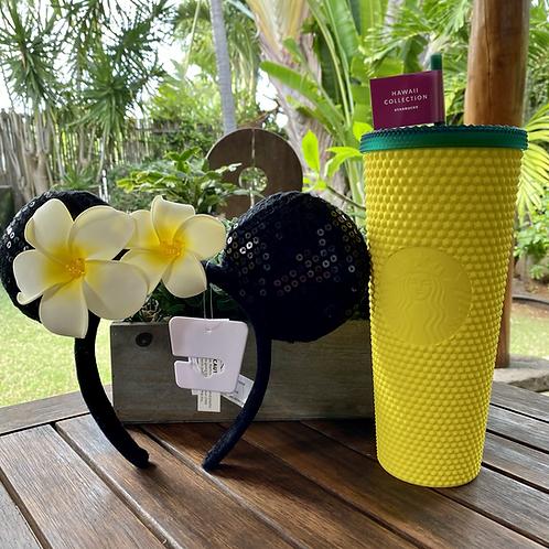 Starbucks Hawaii Studded Pineapple Tumbler and Plumeria Ears