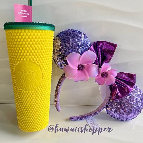 Starbucks Hawaii Studded Pineapple Cup & Aulani Purple Plumeria Ears