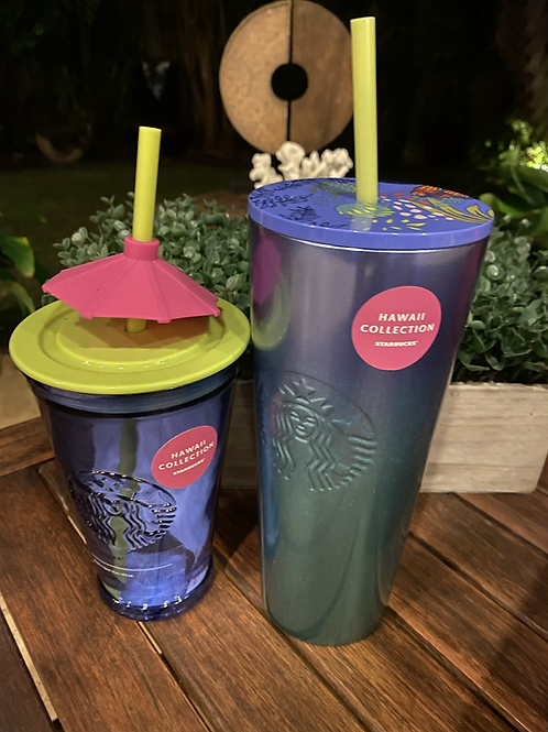 Starbucks Hawaii Blue Ombré and Glass Umbrella Cup