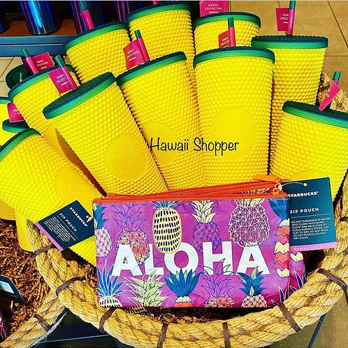 Starbucks Hawaii Pineapple Studded Tumbler and Aloha Pouch
