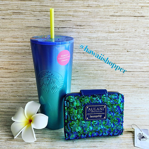 Starbucks Blue Hawaii exclusive cup and Aulani Paradise Vibes Wallet