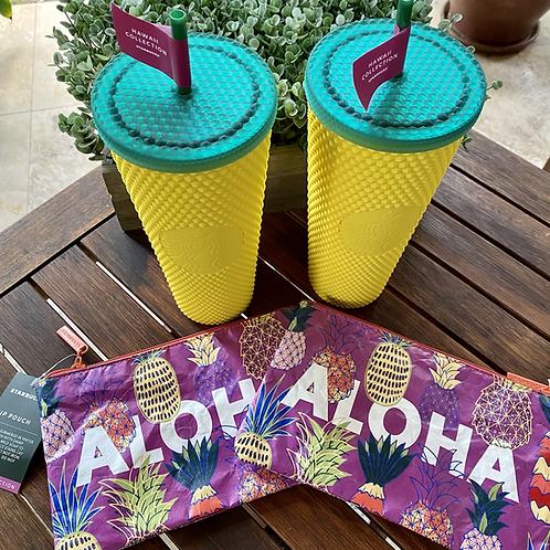 Starbucks Hawaii Studded Tumbler and Aloha Pouch (Set of 2)