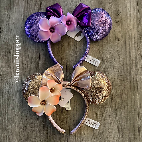 Aulani Plumeria and Rose Gold Ears Set