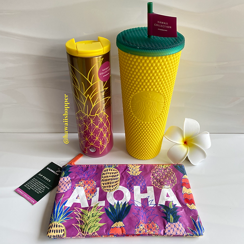 Starbucks Hawaii Studded Pineapple and Pink Pineapple Tumblers With Aloha Pouch