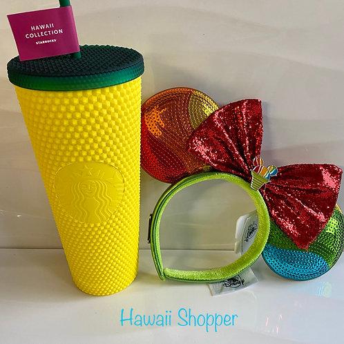 Starbucks Hawaii Pineapple Studded Tumbler& Aulani Shave Ice Loungefly Ears