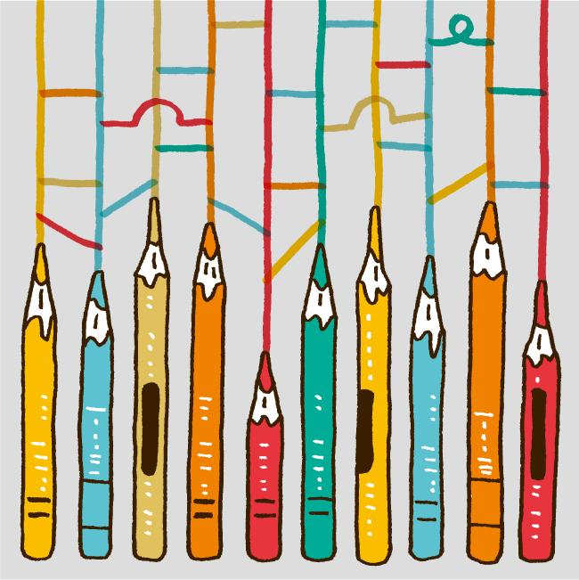 色鉛筆のあみだくじ