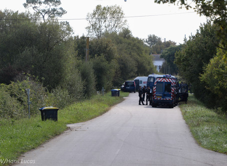 Donges est bloquée sur la D4 ...Operation de Gendarmerie