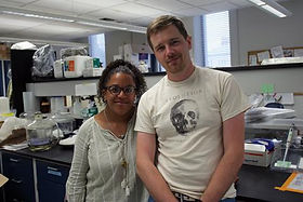 Will Kuhn and a fellow student in a laboratory