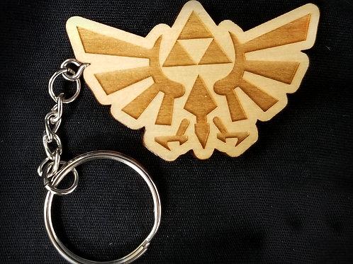 Wooden Keychain Inspired by Zelda Hylian Crest