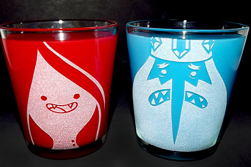 Rocks Glass Set Inspired by Adventure Time Ice King and Marceline