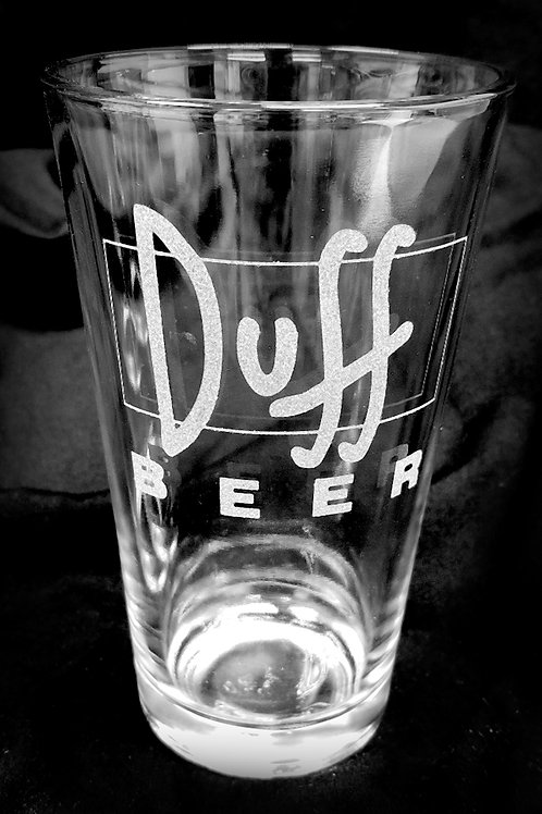 Pint Glass Inspired by Simpsons Duff Beer