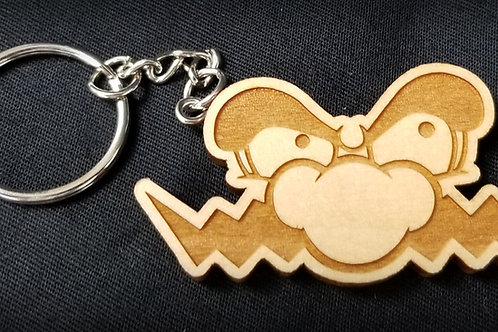 Wooden Keychain Inspired by Wario