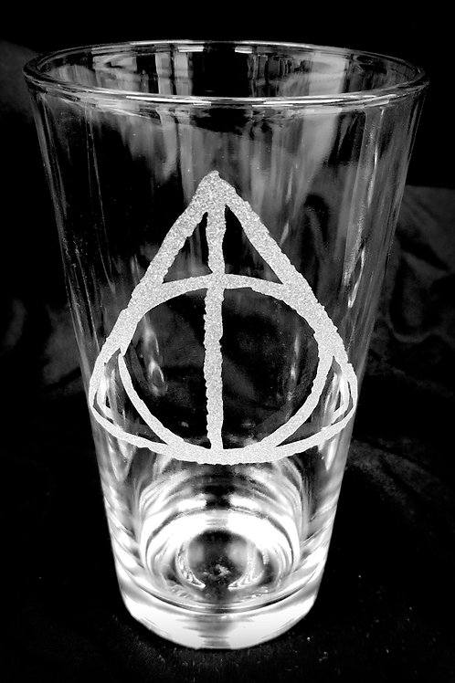 Pint Glass Inspired by Harry Potter Deathly Hallows