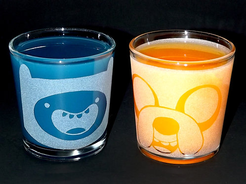 Rocks Glass Set Inspired by Adventure Time Finn and Jake
