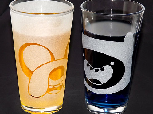 Pint Glass Set Inspired by Adventure Time Finn and Jake
