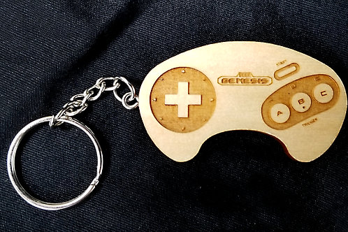 Wooden Keychain Inspired by SEGA Genesis Controller