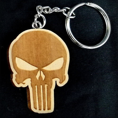 Wooden Keychain Inspired by Punisher