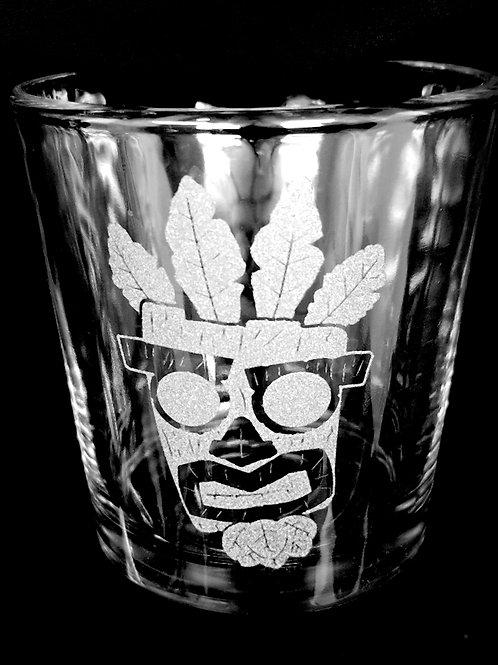 Rocks Glass Inspired by Crash Bandicoot Aku Aku