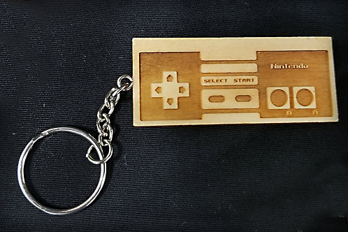 Wooden Keychain Inspired by NES Controller