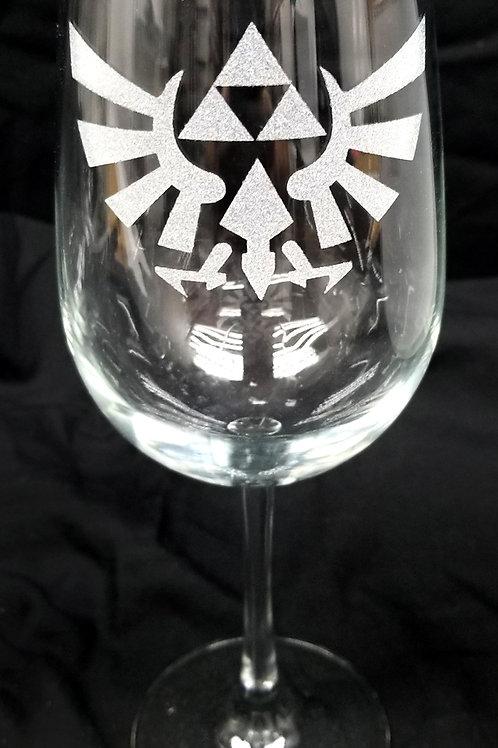 Wine Glass Inspired by Zelda Hylian Crest