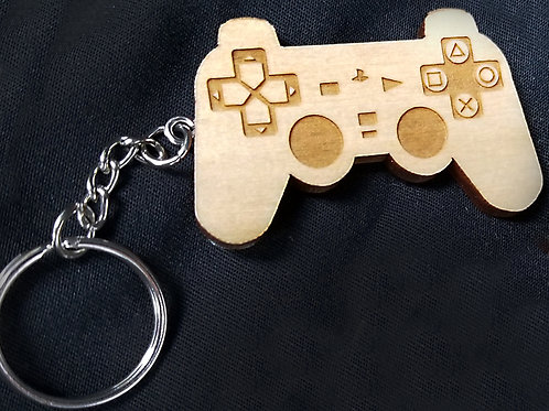 Wooden Keychain Inspired by Playstation Controller