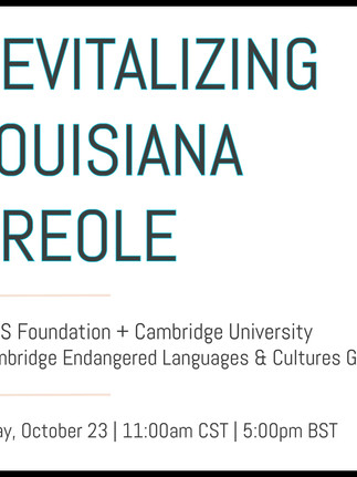 Upcoming conference – 'Revitalizing Louisiana Creole'