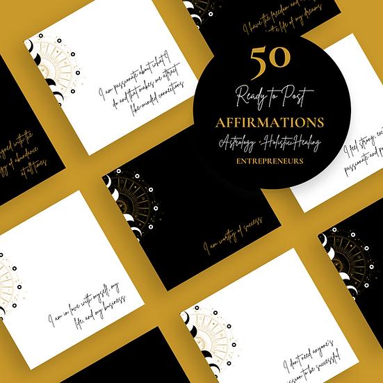 50 Ready to Post Affirmation IG Posts for ASTROLOGY + HOLISTIC Entrepreneurs