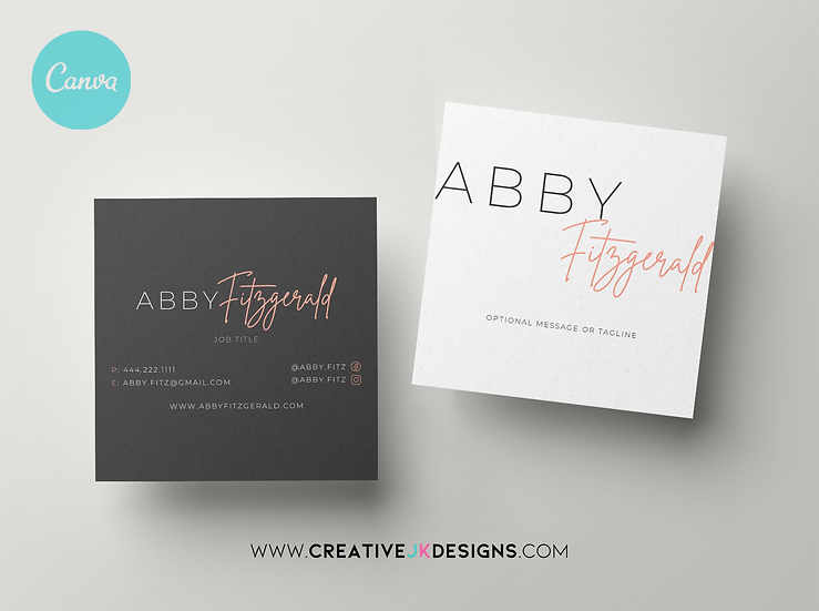 ABBY FITZ - 3 Editable Square Business Card Templates