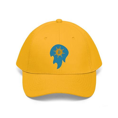 The Bitcoin Spirit of Prosperity on a Golden Cap