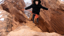 Sketchy Andy Lewis rope jumps into canyon in Moab Utah