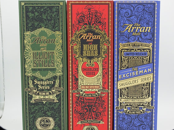 Arran Smugglers Serie komplett, drei Flaschen à je 70 cl. Limited Edition