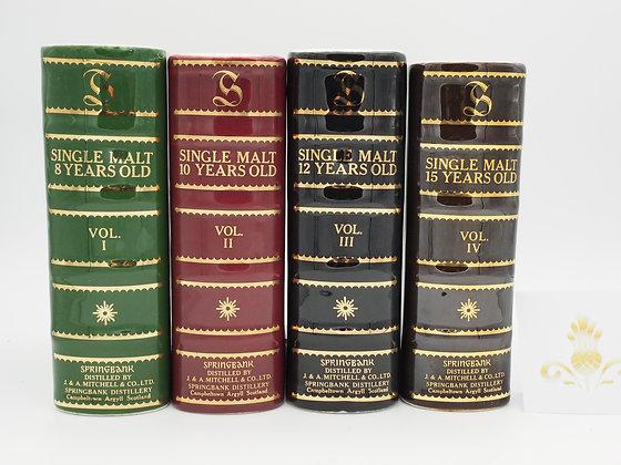 Springbank Book Decanter, 8, 10, 12 und 15 Jahre, 43 % Vol, 70 cl.