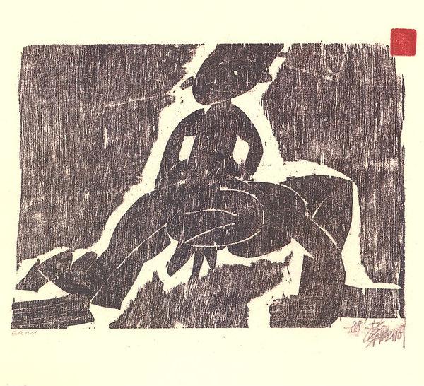 Epoque Han 1988 gravure sur bois 16,5x23