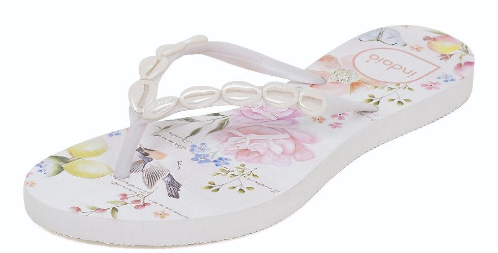 SANDALIA FLOWER PRINT WHITE SHELLS