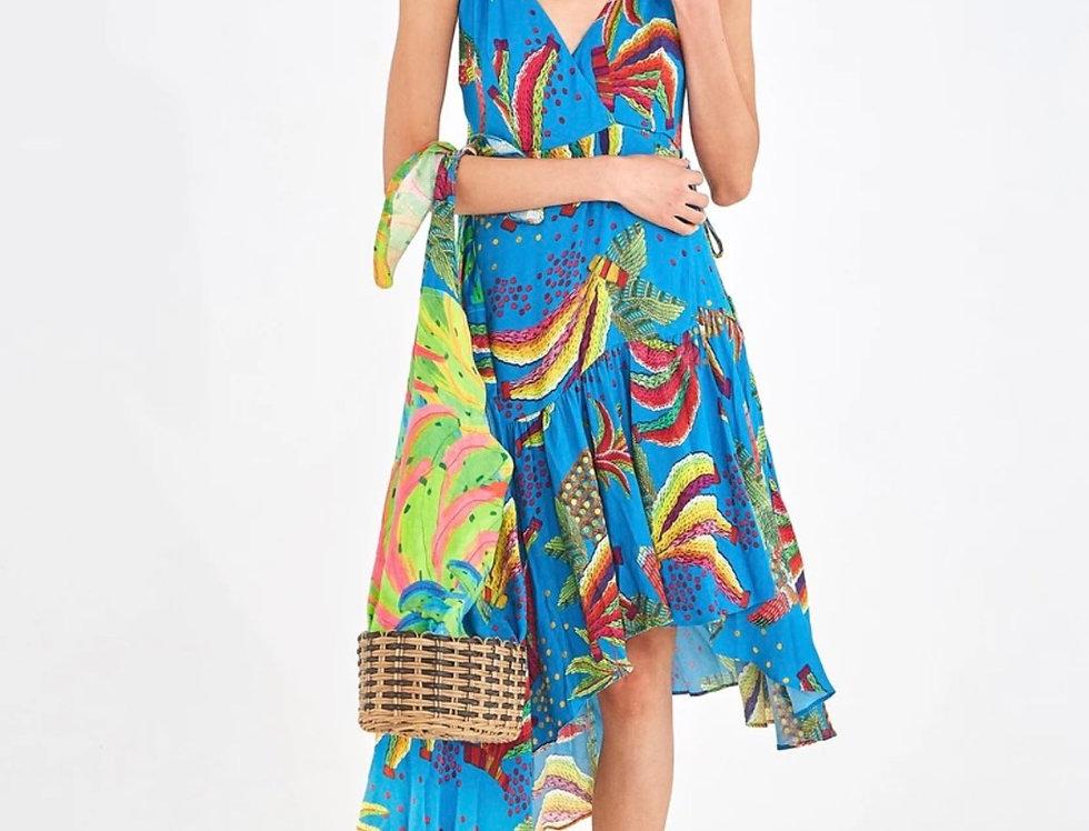 BLUE BANANA WRAP DRESS