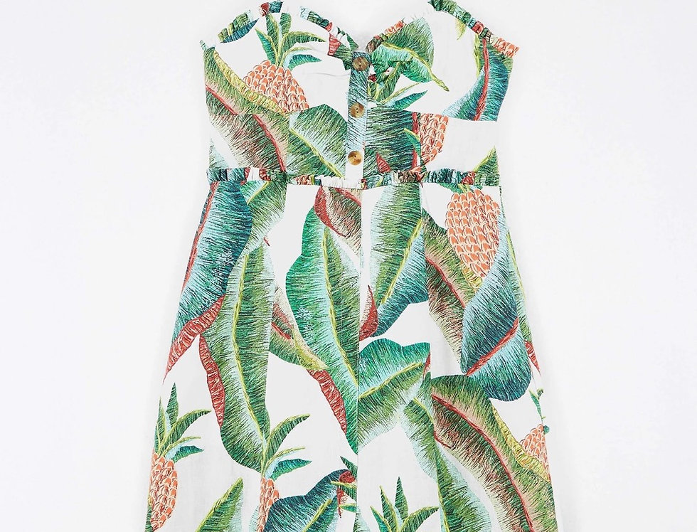 FOREST PALM LINEN MINI DRESS