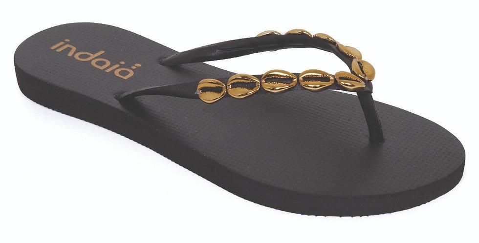 SANDALIA BLACK GOLD SHELLS
