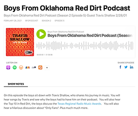 Travis Shallow on Boys from Alabama Red Dirt Podcast