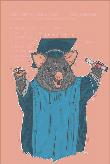 Sir John's Bar Art prints: Graduated Possum
