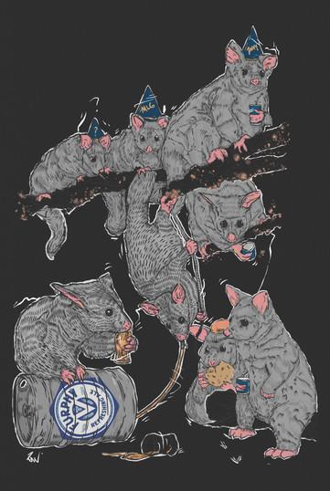 Sir John's Bar Art prints: Party Possums