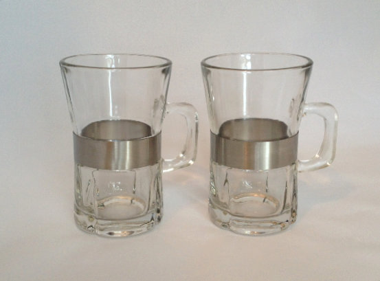 VINTAGE | Glass & Stainless Steel Mugs