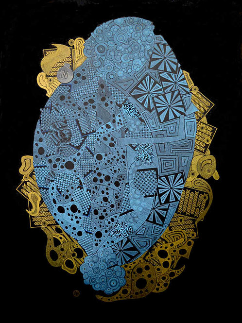 Carrickalinga Map 2019 Blue and Gold, by Leith Semmens