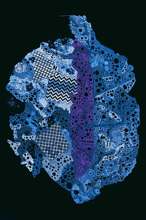 Climate Crisis Map Blue, by Leith Semmens